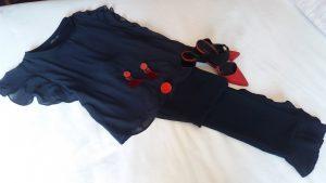 pantalon y blusa azul oscuro con zapatos , pendientes y anillo rojo