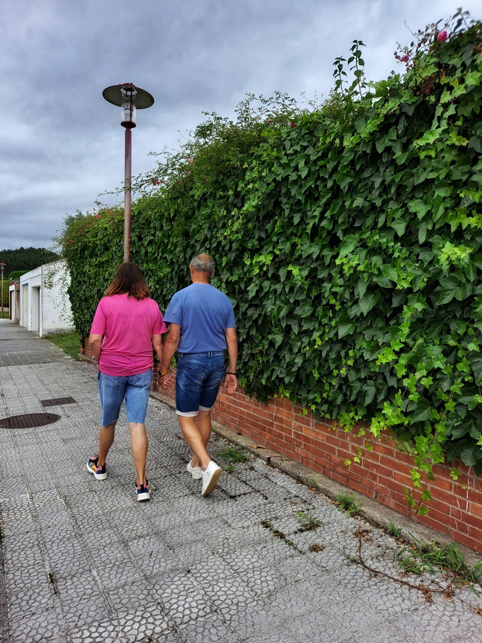 los abuelo pasean juntos de la mano.