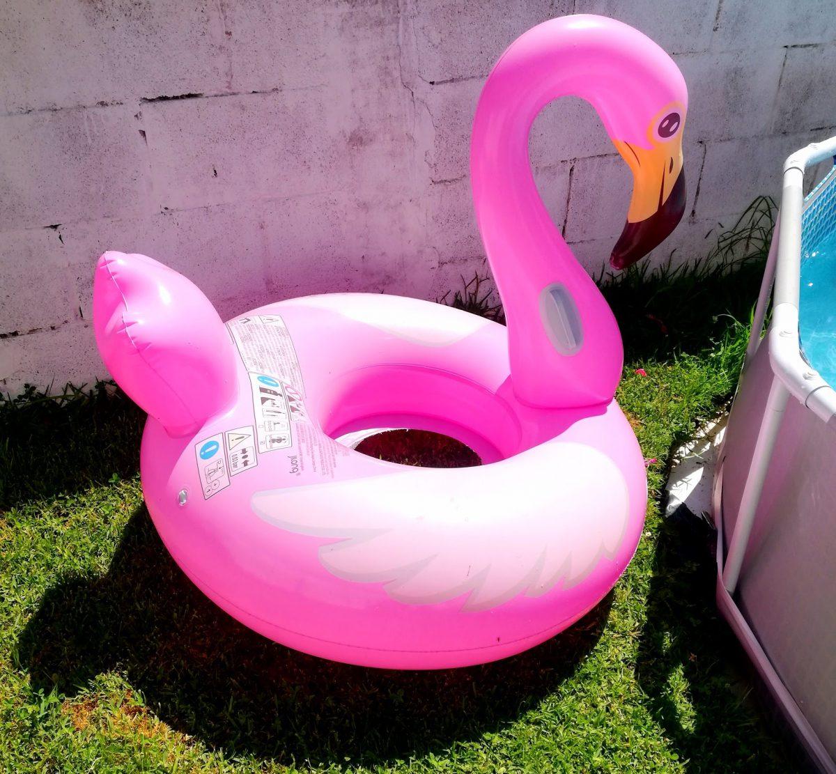 flamenco rosa para la piscina